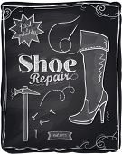 Shoe repair chalkboard background.