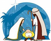 pic of nativity scene  - A nativity scene with the star of Bethlehem in the background - JPG