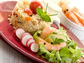 shrimp with salad and vegetables couscous