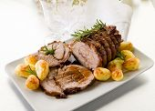 picture of veal meat  - roast of veal with potatoes - JPG