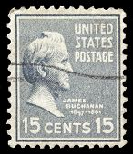 USA-CIRCA 1938: A postage stamp shows image portrait of James Buchanan the 15th President of the Uni