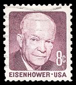 USA-CIRCA 1971: A postage stamp shows image portrait of Dwight Eisenhower the 34th President of the
