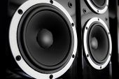 image of double-bass  - Pair of black glossy audio speakers isolated on black background - JPG