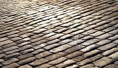 stock photo of cobblestone  - Cobblestone pavement in Russia in Moscow on Red Square - JPG