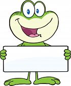 stock photo of cute frog  - Cute Frog Cartoon Mascot Character Holding A Banner  Illustration Isolated on white - JPG
