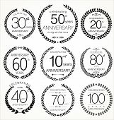 stock photo of laurel  - Anniversary laurel wreath collection 9 elements - JPG