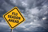image of swine flu  - Flu season ahead sign over gloomy sky - JPG