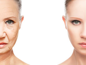 stock photo of wrinkled face  - concept of aging and skin care - JPG