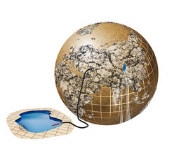 stock photo of polution  - illustration of problems with water on Earth - JPG
