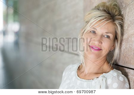 Contemplative Middle-aged Woman