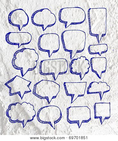 Speech Bubble background design on Cement wall texture background design