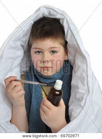 Sick Boy With A Medicine And A Thermometer Isolated On White Background