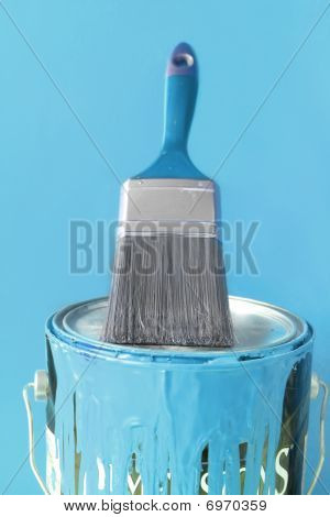 Light Blue Paint And Brush
