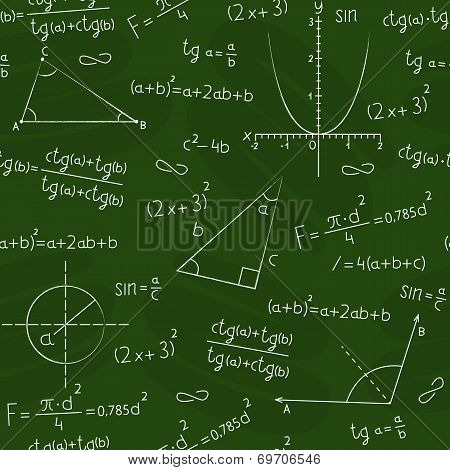 blackboard with geometric shapes and formulas