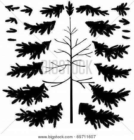 Christmas tree trunk and branches silhouettes