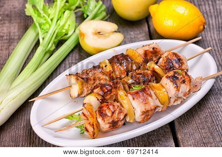 Skewers Of Grilled Chicken Fillet With Apples