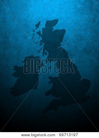 Grungy section of wall overlaid with UK and Ireland map