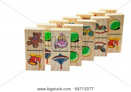 Children's Wooden Dominoes On A Light Background