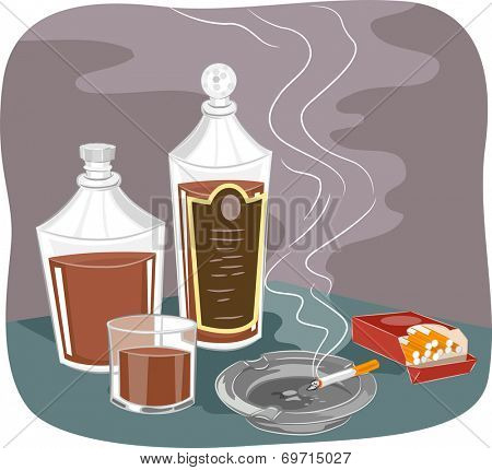 Illustration Featuring Bottles of Liquor and a Pack of Cigarettes