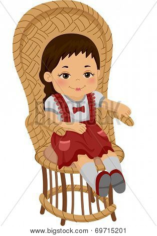 Illustration of a Rag Doll Sitting on a Rattan Chair