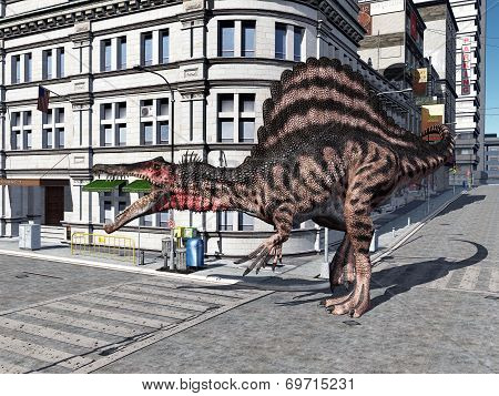The Dinosaur Spinosaurus in the City