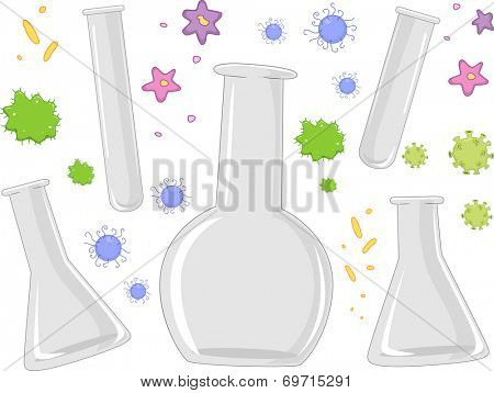 Illustration of Different Laboratory Apparatuses Surrounded by Bacteria