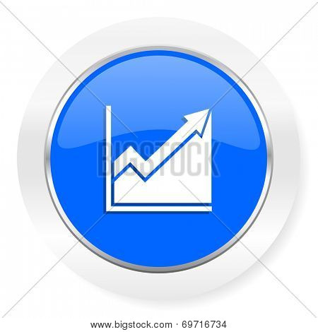 histogram blue glossy web icon