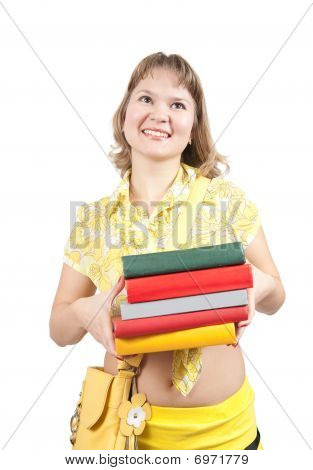 Girl With Books  Over White