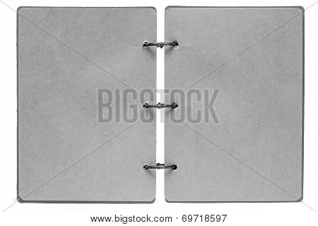 Open Notebook With Pages Of Gray Color