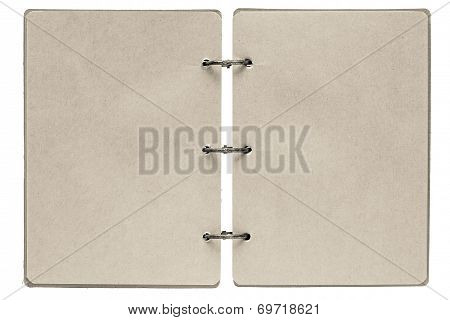 Open Notebook With Pages Of Beige Color