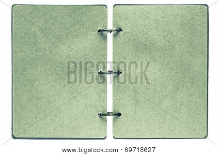 Open Notebook With Pages Of Green Color