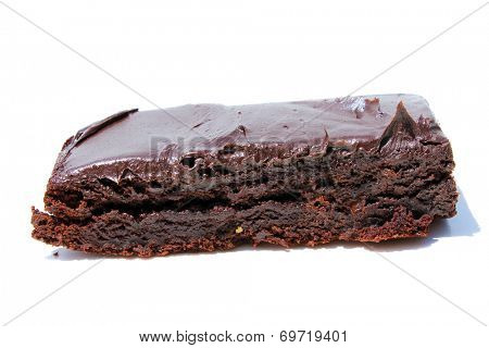 Genuine Medical Marijuana Chocolate Brownie, aka medical cannabis brownies, Pot Brownies or edibles.  Isolated on white with room for your text. Medical Edibles are a good alternative to smoking