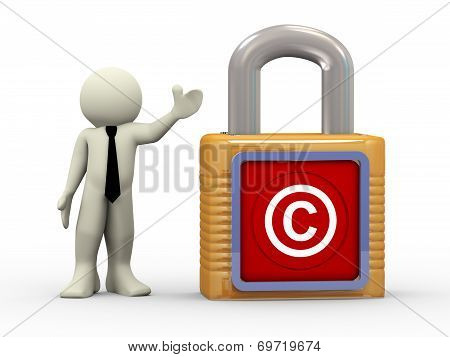 3D Man With Copyright Symbol Padlock
