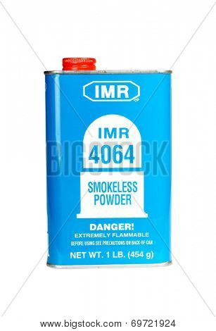 Hayward, CA - August 7, 2014: 1Lb can of IMR 4046 Smokeless Powder gunpowder