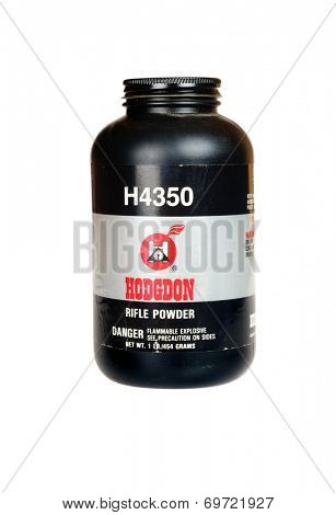 Hayward, CA - August 7, 2014: 1Lb container of Hodgdon H4350 Smokeleess Rifle Gunpowder