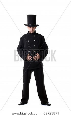 Pretentious man posing dressed as chimney sweep