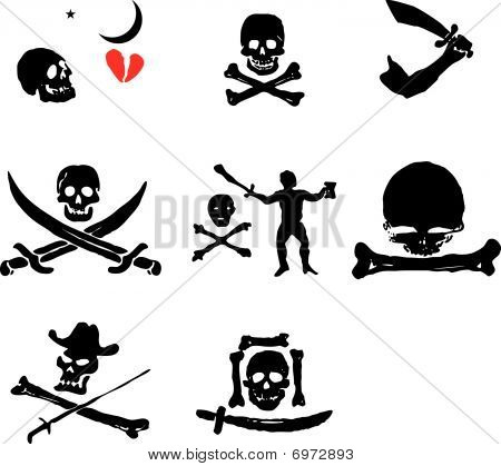 A set of pirate flags,