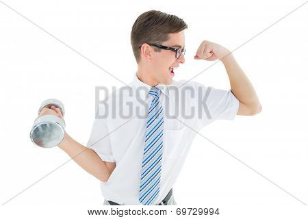 Geeky happy businessman lifting dumbbell on white background