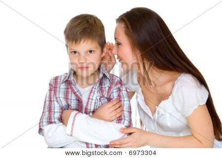 Happy Young Mum Cheers Sad Son