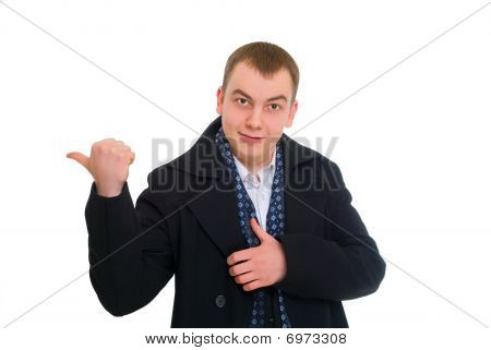 Young Businessman Pointed His Finger Left
