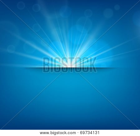 Blue abstract blurry background with sun lens flare. Vector illustration.
