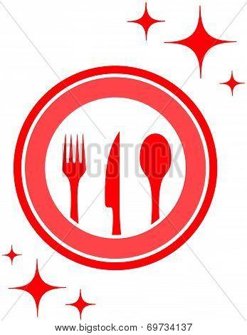 Restaurant Icon With Kitchen Ware