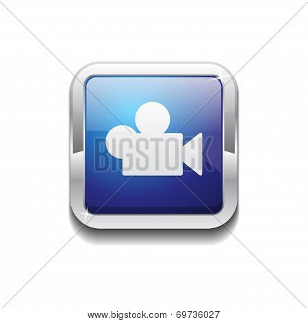 Video Rounded Corner Vector Blue Web Icon Button