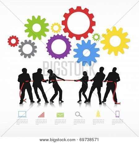 Vector Of Business People In Tug Of War
