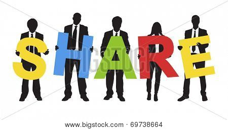 Silhouettes of Business People Holding Text Share