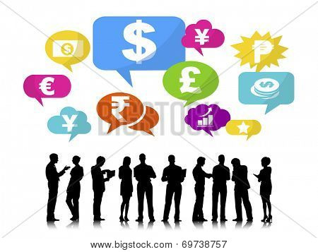 Silhouettes of Business People and Finance Concepts