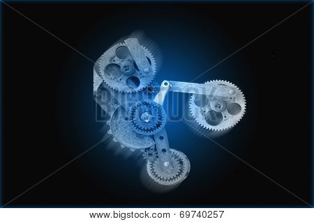 Gear Mechanism Over Blue