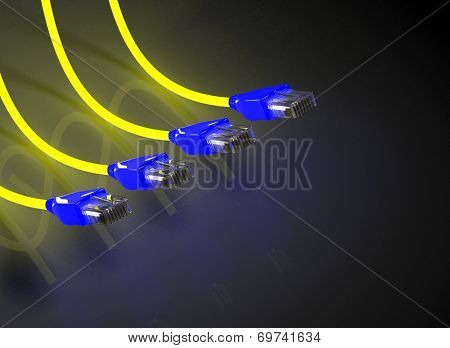 Multiple network cables on black background