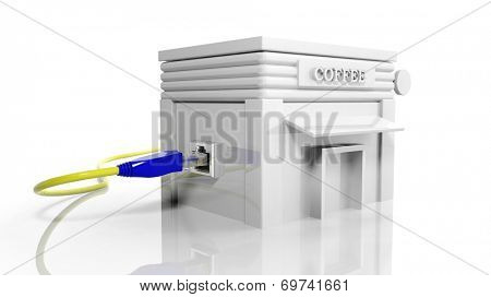 Internet cafe building icon with internet access plug isolated