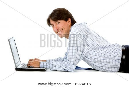 Business Man With A Computer